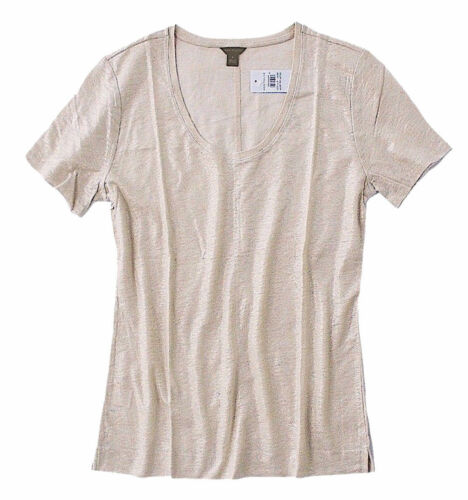 Shimmery Champaign-Gold Linen Scoop Neck Tee Women/'s M Ann Taylor NWT $39
