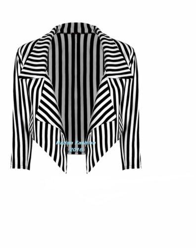 Donna Nero E Bianco A Righe Tagliato A CASCATA Coat Casual giacca Blazer.