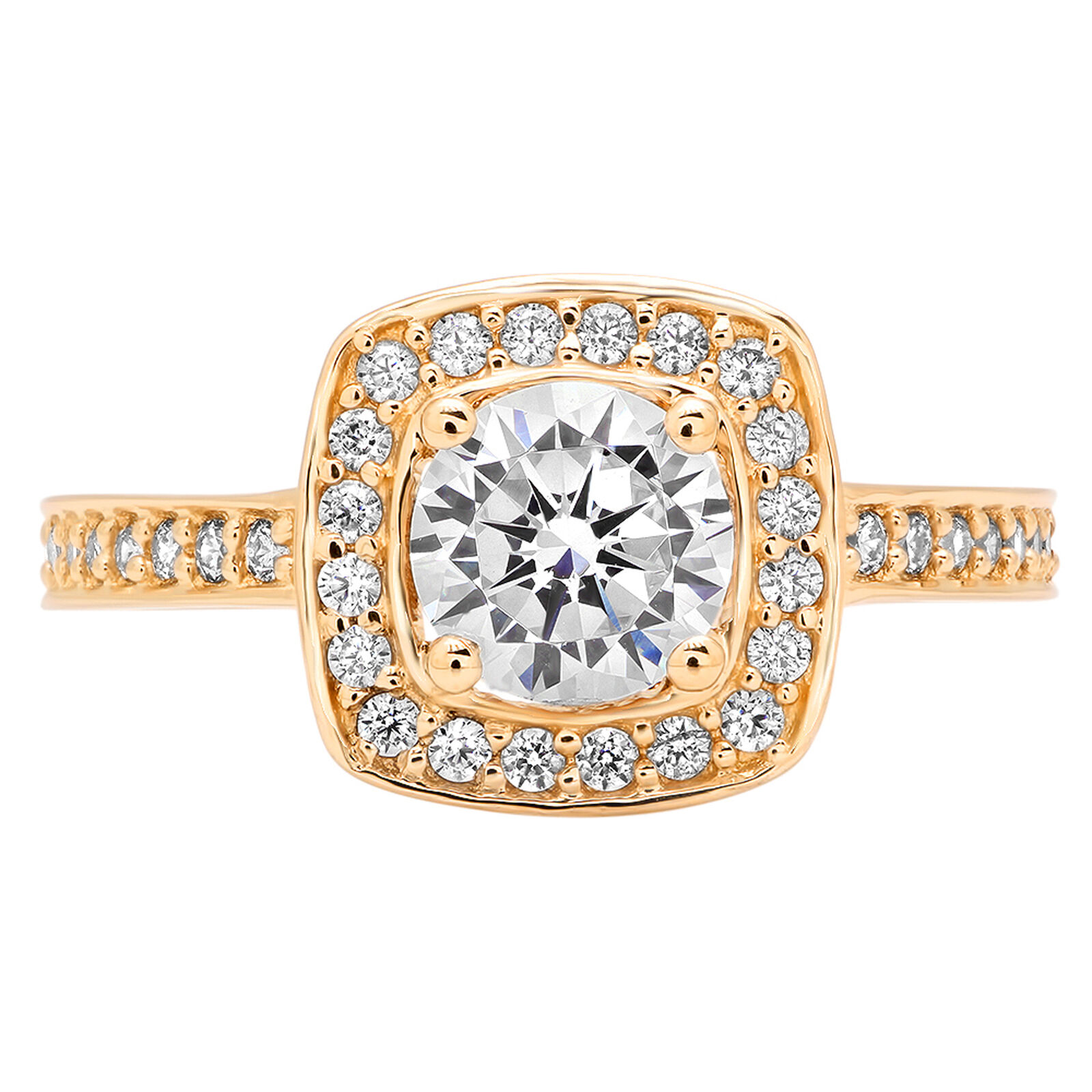1.56ct Round Cut Wedding Engagement Promise Solitaire Halo Ring 14k Yellow gold