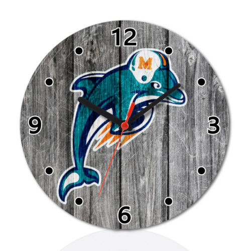 Miami Dolphins Football Wood Wall Clock Home Office Room Decor Gift Round
