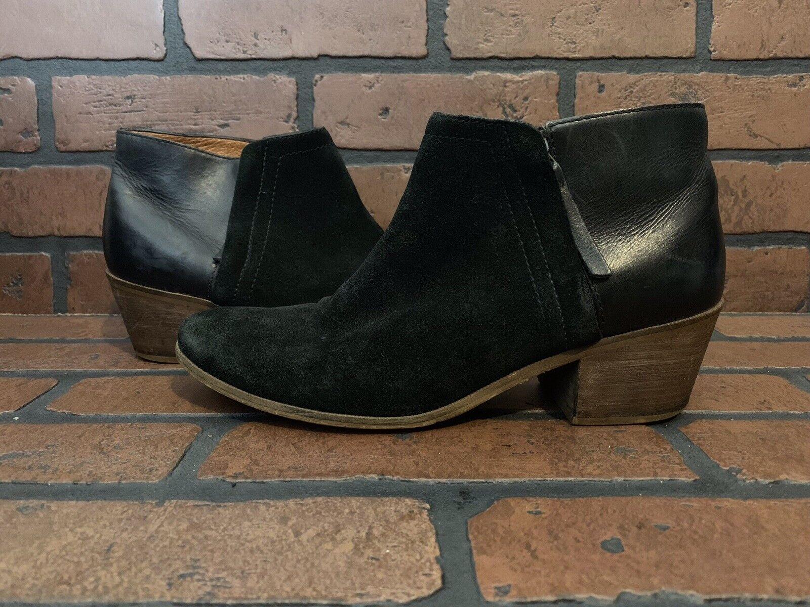 Madewell Cait Chaussons Noir Cuir Daim Taille 9.5 E2237