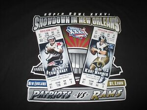 60dd47f67 SUPER BOWL XXXVI NEW ENGLAND PATRIOTS Tom Brady vs RAMS Kurt Warner ...