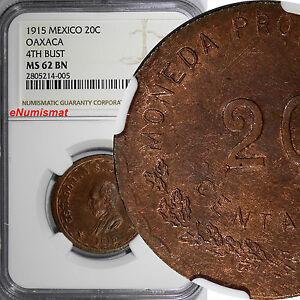 Mexico-Revolutionary-OAXACA-Copper-1915-20-Centavos-NGC-MS62-BN-4th-BUST-RED