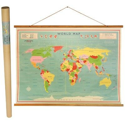 dotcomgiftshop WORLD MAP HANGING PAPER WALL CHART 100 X 73CM IN A TUBE