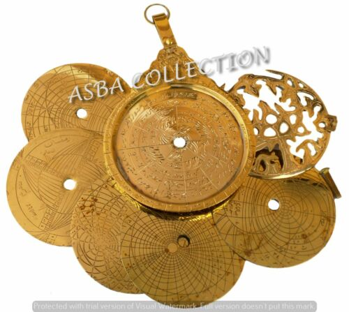 "Navigation Astrological Shiny Brass Astrolabe 5/"" Arabic Islamic Calendar Gifted"
