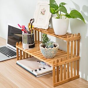 2 Tier Bamboo Plant Stand Tabletop Shelf Desk Rack Display