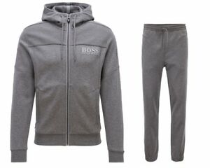 Hugo Boss Green Saggy Hadiko 50387166 032 Hooded Mens Tracksuit Grey ... 8343bae7472