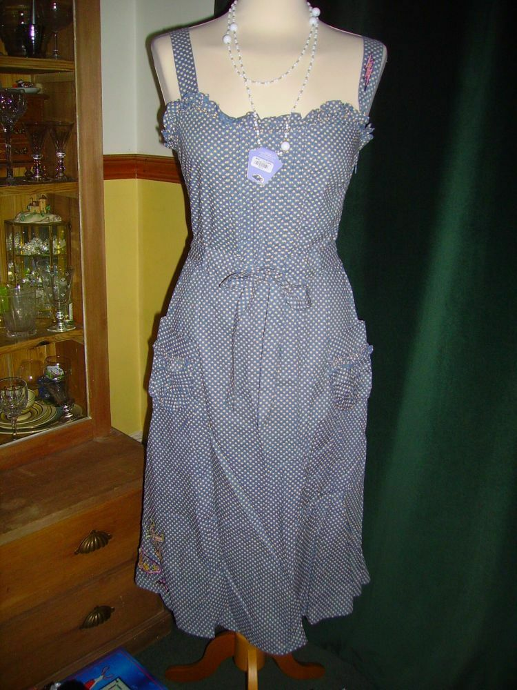 Laura L @ Topshop Tiny Heart Print Blau Dress Vintage Style Embroidery BNWOT MED
