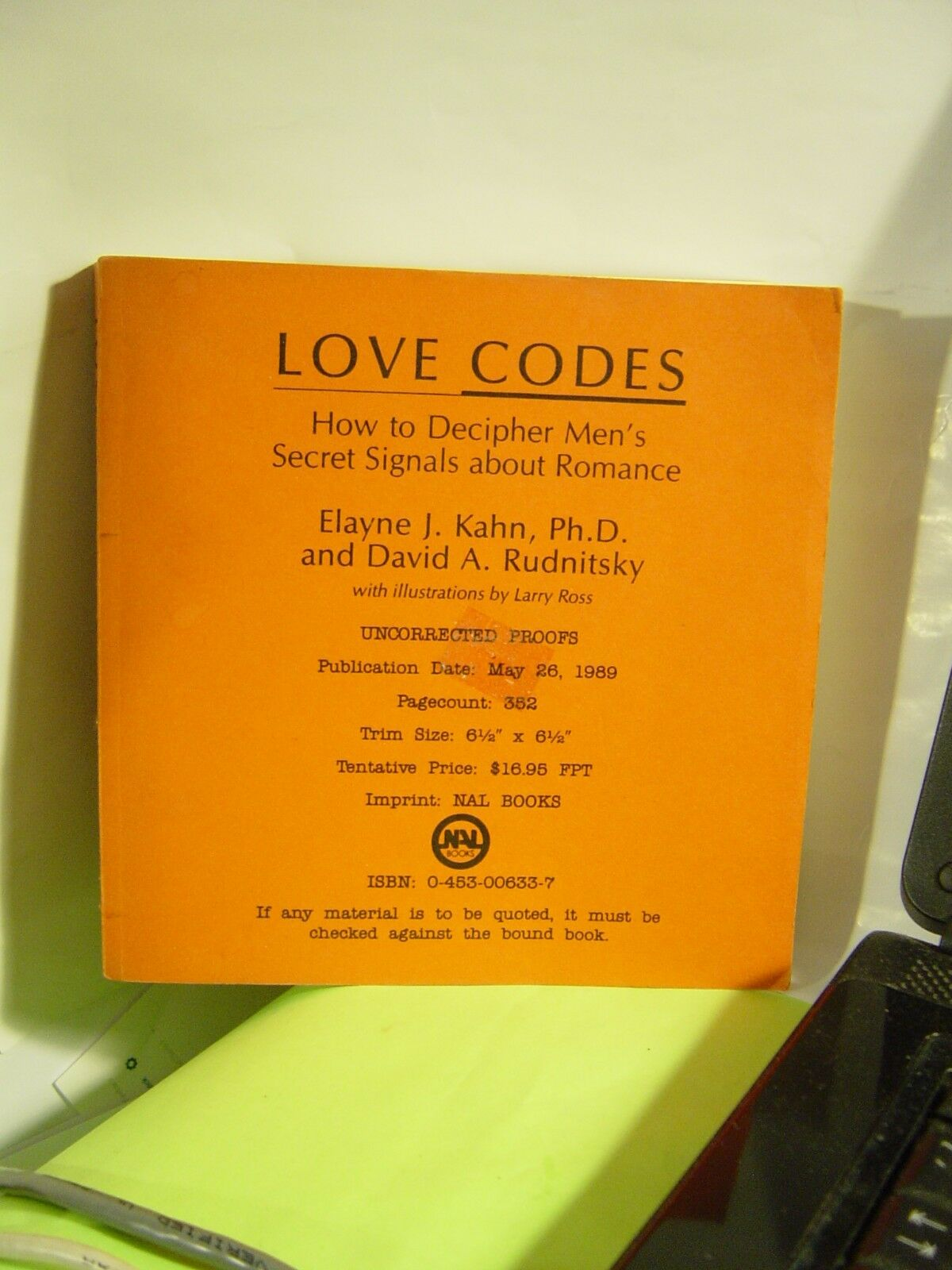 Love Codes : How to Decipher Men's Secret Signals about Romance by Elayne  J  Kahn and David A  Rudnitsky (1989, Hardcover)