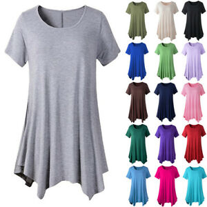 Details about Women Cotton Swing Short Sleeve Tunic Tops Blouses Loose Plus  Size T-Shirt Dress