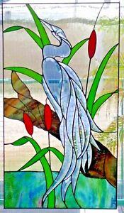 Bleiverglasung-Fensterbild-Facetten-Reiher-mit-Echt-Antikglas-in-Tiffany