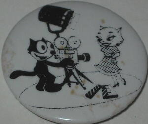 Felix the Cat Film Director w// His Girlfriend Movie Star Kitty Pin 1.75/""