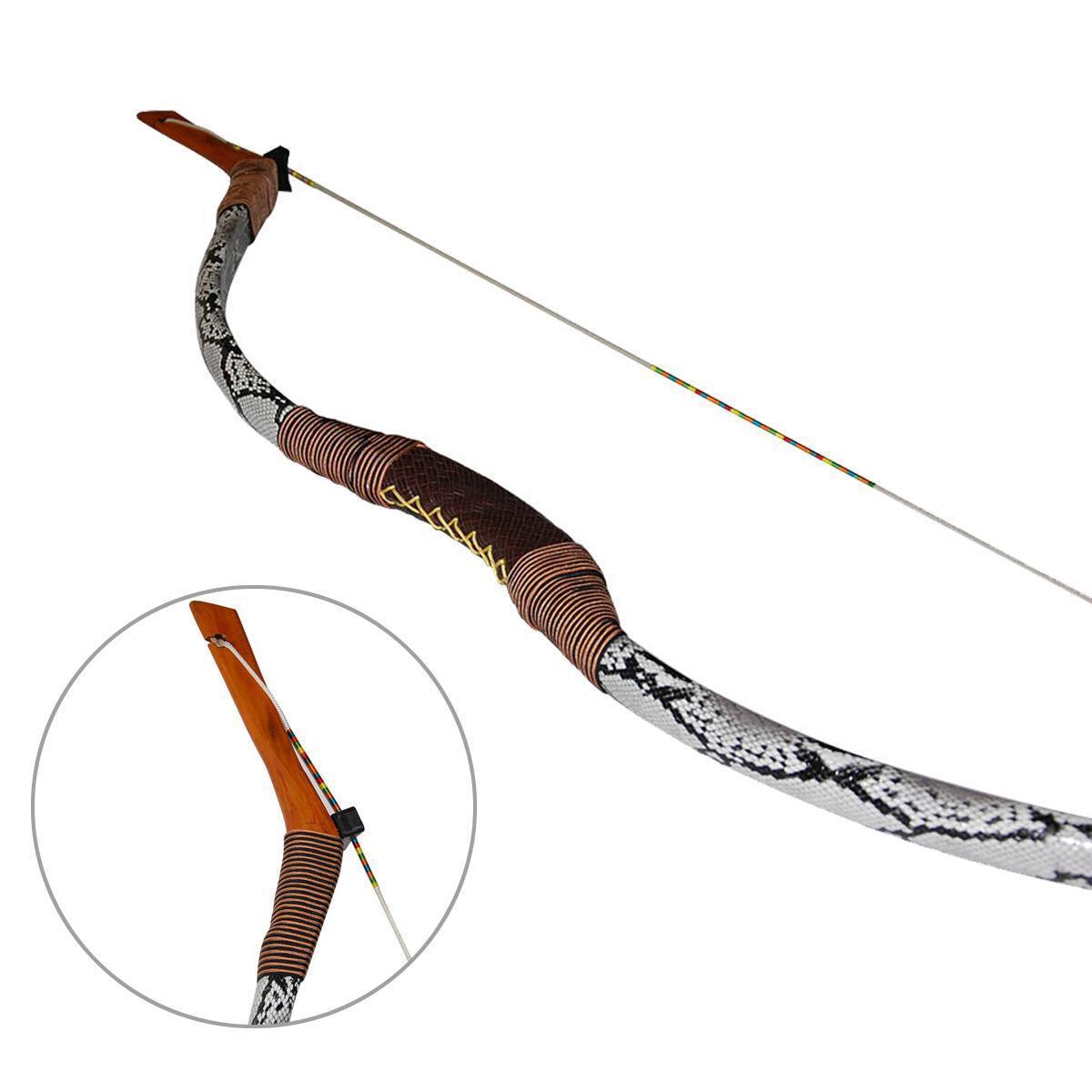 30-50 lb 56  Piel De Serpiente Cuero Tradicional Recurvo Arco hecho a mano Mongolia Longbow
