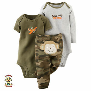 Carter-039-s-3-piece-Turn-Me-Around-Set-Camo-Monkey-9-months-Authentic-amp-Brand-New