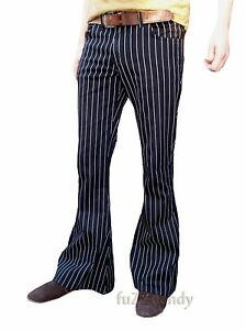 PinStripe-Black-White-Flares-Stripes-Mens-Bell-Bottoms-Hippie-vtg-indie-Trousers