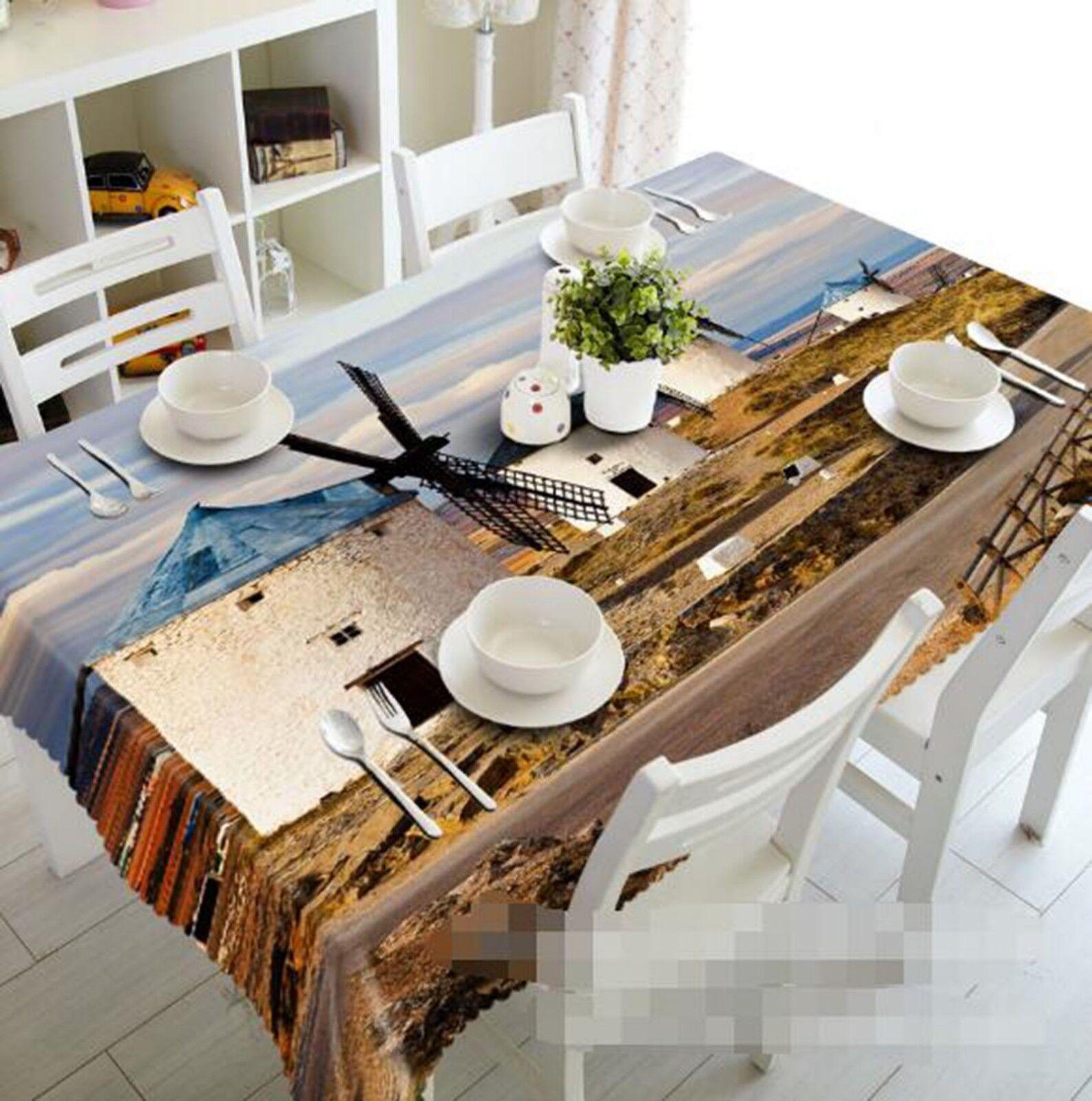 3D blanc Windmill 021 Tablecloth Table Cover Cloth Birthday Party Event AJ Lemon