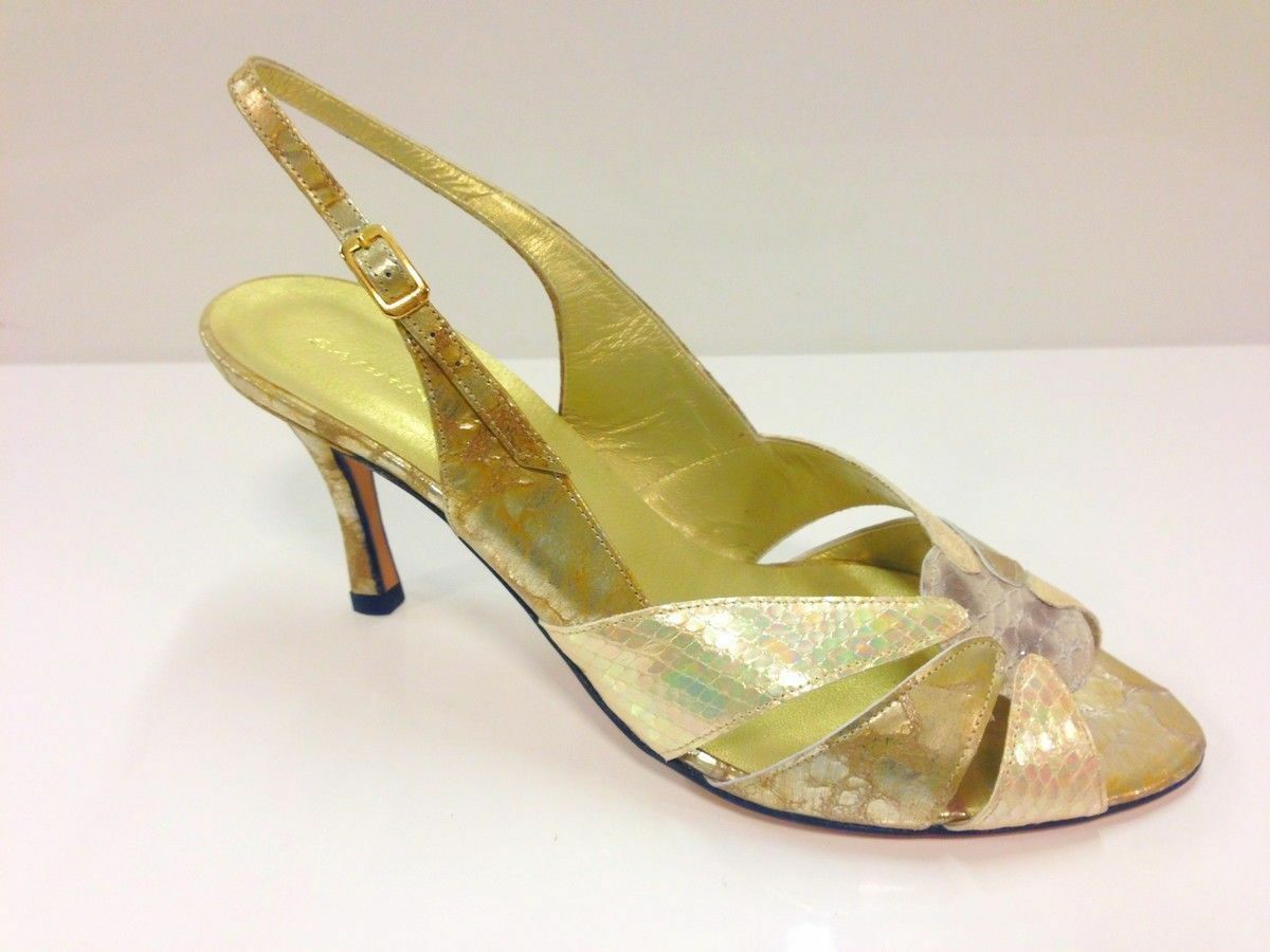 Sabrina Chic Mujer De Oro Peep Toe Taco Sin Talón Zapatos UK8/EU41 (2674 P-L 731)