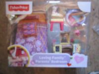 Fisher Price Loving Family Dollhouse Parents' Bedroom Deluxe Decor Bed Set