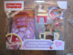 Fisher-Price-Loving-Family-Dollhouse-New-Parents-039-Bedroom-Deluxe-Decor-Bed-Set