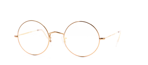 Vintage-Hilton-Classic-2-Gold-Round-Eyeglasses-Eyewear-Optical-Frame-Glass-47mm