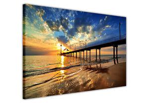 SEA-PIER-AT-SUNRISE-CANVAS-WALL-ART-PICTURE-PRINTS-HOME-DECORATION-LANDSCAPE
