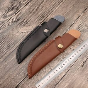 1-X-Leather-Straight-Knife-Sheath-Pouch-Embossing-with-Belt-Clip-Black-Brown-New