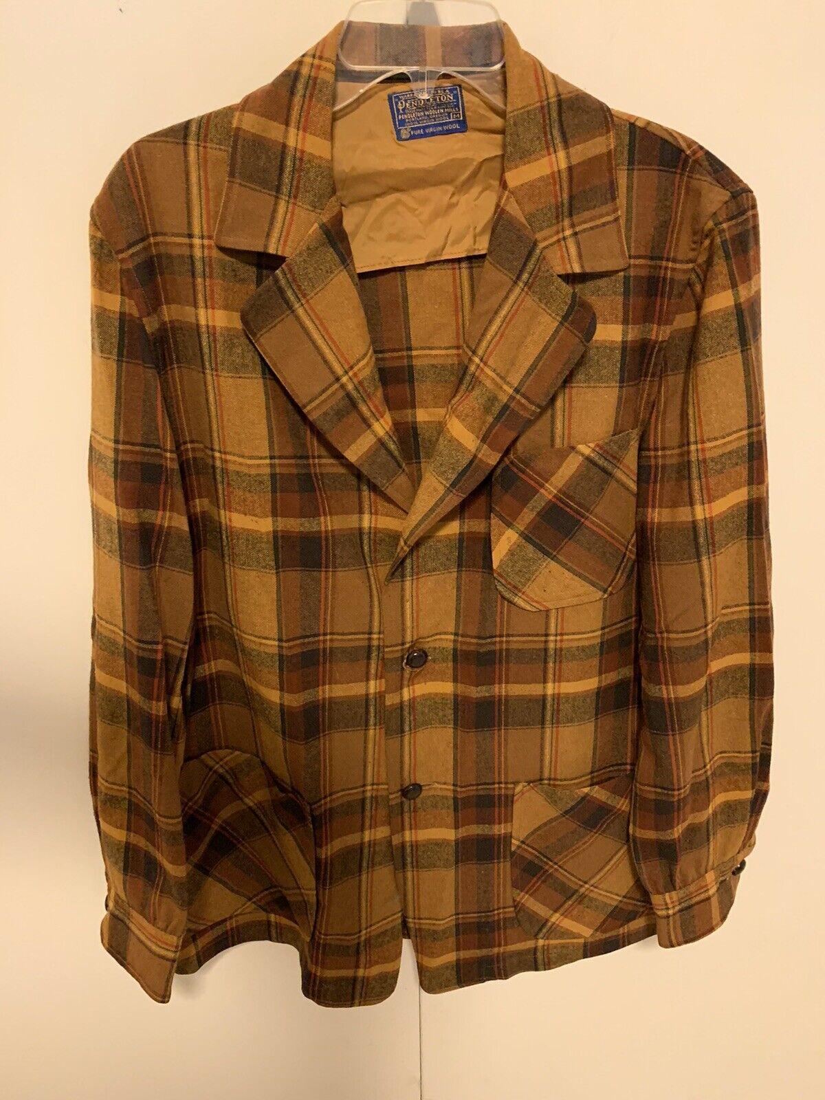 Vtg Pendleton Mens Plaid Thin Blazer Shirt Jacket M - Rockabilly Hipster Grunge