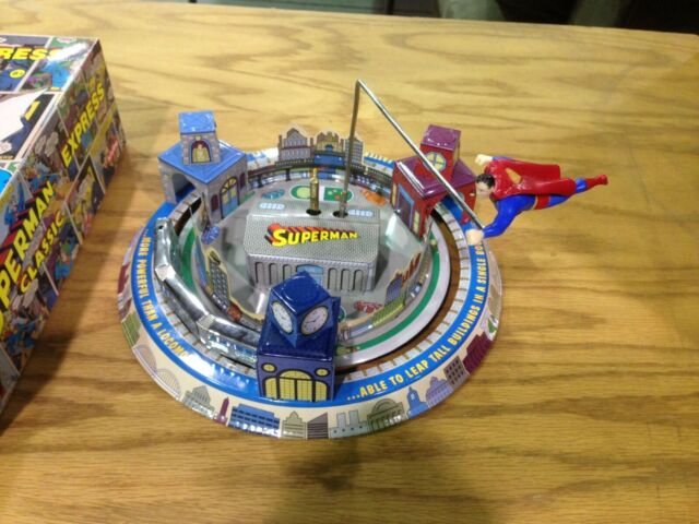Superman Express Tin Mechanical Toy by Schylling SUPERMAN FLYS OVER METROPOLIS