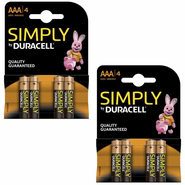 8 X duracell Simply AAA 1.5v Piles Paquet Alcaline LR03 MN2400 Durent Puissance