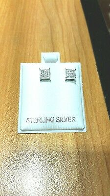 .925 sterling silver  men earrings square with accent screw-back stud.