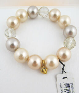 f127db38c9 Carolee MAKE ME BLUSH Glass Pearl Faceted Bead Bead Stretch Bracelet ...
