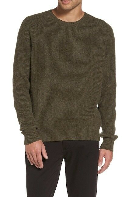 VME344 NWT VINCE WOOL CASHMERE RIBBED RAGLAN MEN SWEATER SIZE S 365