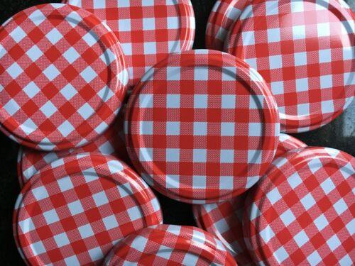 Nouveau Pack De 10 Jam Jar Lids 63 mm Twist ON OFF Rouge Vichy Chutney de remplacement