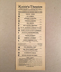 Providence RI: 1908 KEITH'S THEATRE Vaudeville Handbill Program Announcement