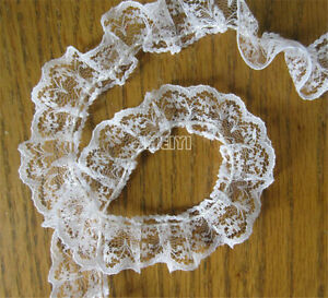 5 Yrds 2cm Pleated Organza Lace Edge Trim Gathered Mesh Ribbon Sewing DIY White