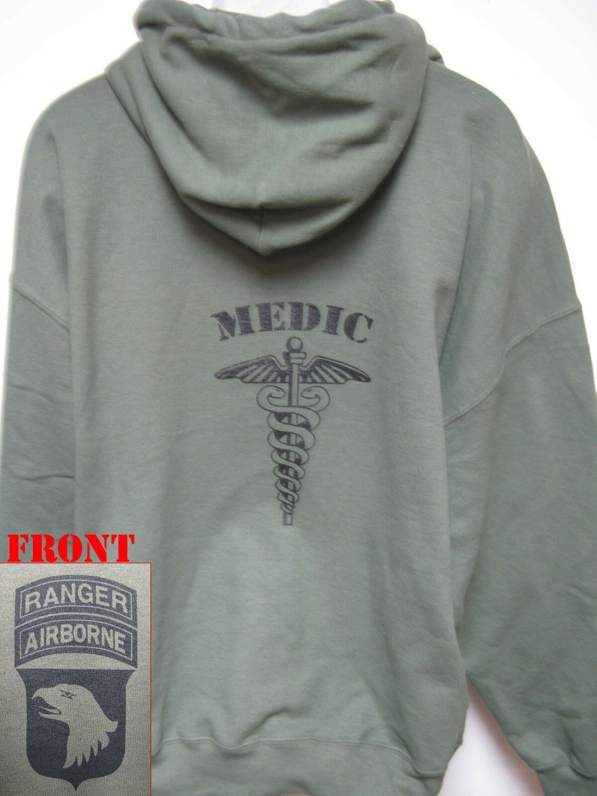 MEDIC HOODIE SWEATSHIRT  SWEAT TOP  OD GREEN  MILITARY  101 AIRBORNE RANGER  NEW