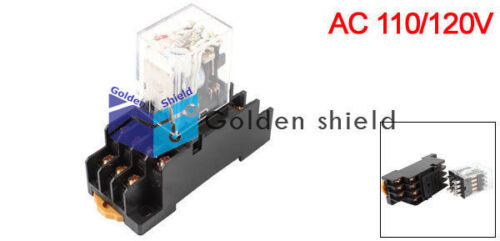 HH54PL Coil 4PDT 14 Pin Red LED Power Relay w Socket AC 110//120V