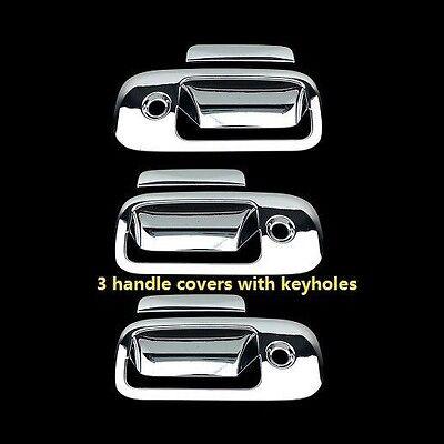 FOR GMC SAVANA 03-15 CHROME 3 DOORS HANDLES COVERS W// 3 KEYHOLES
