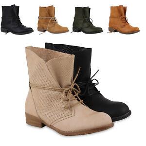 Luftige Sommer Damen Worker Boots Stiefeletten Stiefel Lederoptik 78860 Schuhe