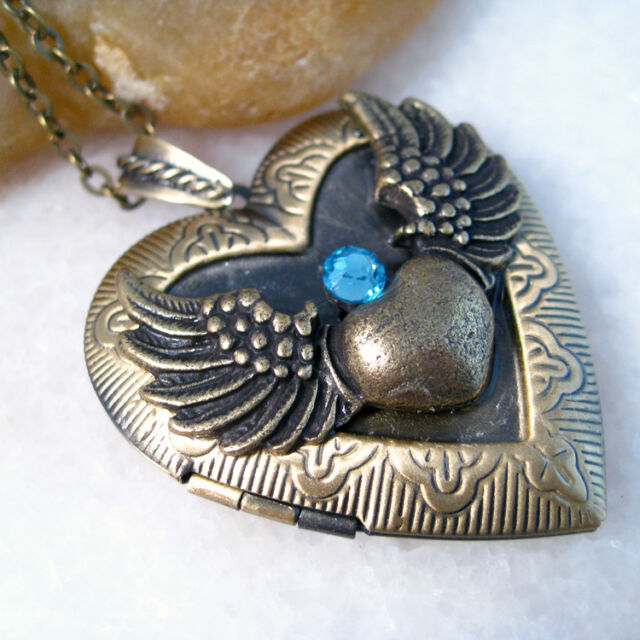 Sapphire Angel Wing Heart Brass Picture Photo Locket Pendant Chain Necklace