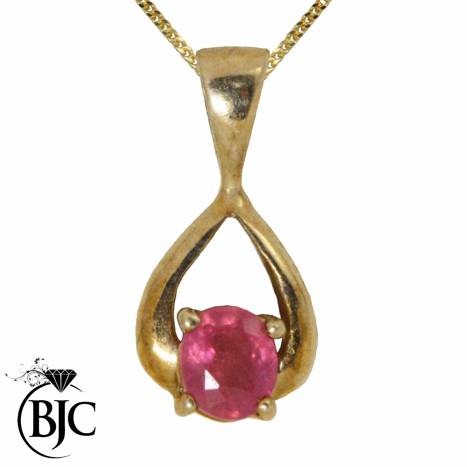 BJC 9kt gold yellow Rubino Naturale redondo Lacrima Pendente E Collana P28