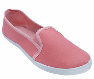 WOMENS-PINK-SLIP-ON-COMFY-CASUAL-PLIMSOLLS-CANVAS-PUMPS-HOLIDAY-SHOES-UK-3-8