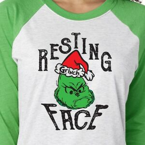 a9a90c51b7bd5 Resting Grinch Face 3 4 Sleeve Shirt Mean Holiday Merry Christmas ...