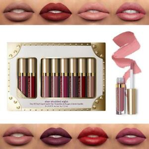 Make-up-Mattlippglanz-Satz-fluessige-Wasserdichte-Lippenstift-Kosmetik-8pcs-Set