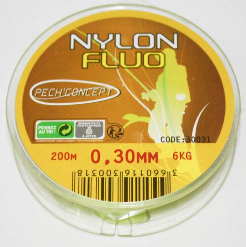 0,05 €//m PECHCONCEPT Nylon Angelschnurr Jaune Fluo 30//100 200M