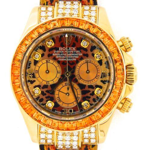 Rolex Solid 18k Gelbgold Leopard Safari Daytona Mit Diamant