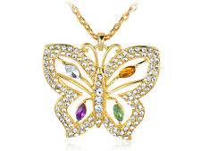 Golden  Color Glam Crystal Rhines Colorful Butterfly Pendant Necklace 121