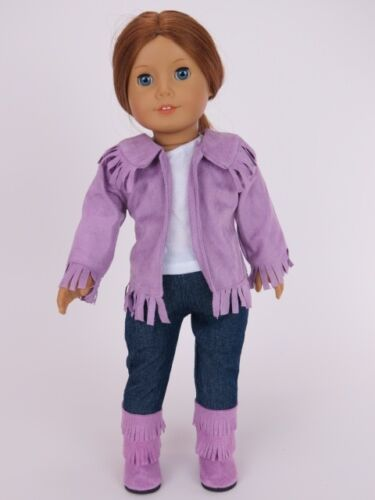 PURPLE COWGIRL OUTFIT: Fringed Jacket Jeans Boots Tee fits American Girl