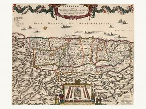 Old-Antique-Decorative-Map-of-Holy-Land-Israel-Palestine-de-Wit-ca-1682