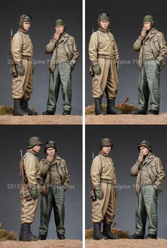 ALPINE MINIATURES, 35192, US Tank Crew Set (2 fig Each w 2 Different), 1 35